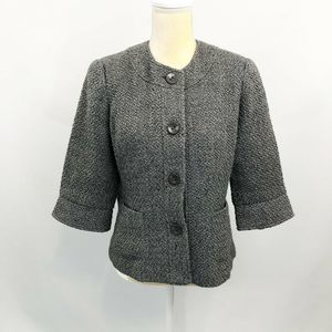 Coldwater Creek Boucle Knit Jacket Gray